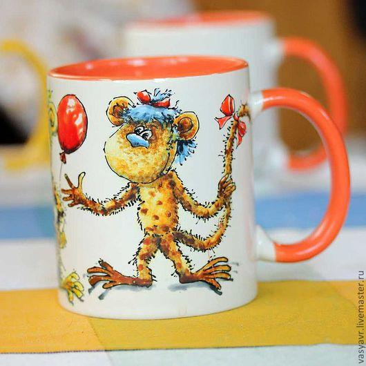 Кружки и чашки ручной работы. Ярмарка Мастеров - ручная работа. Купить Мартышки. Handmade. Мартышка, фарфор