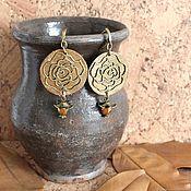Украшения handmade. Livemaster - original item earrings: Long leather earrings Bronze roses. Handmade.