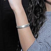 Украшения handmade. Livemaster - original item Minima Series Feather Cuff Bracelet in brushed silver ASH0015. Handmade.