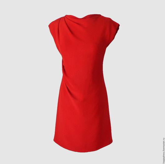 Платья ручной работы. Ярмарка Мастеров - ручная работа. Купить Красное платье с драпировкой. Handmade. Купить красное платье, красный