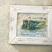 Картины и панно handmade. Livemaster - original item Painting Meditation (boat, birds, blue, turquoise, gray). Handmade.