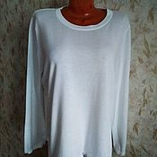 Винтажная одежда ручной работы. Ярмарка Мастеров - ручная работа 56 размер Белый пуловер из хлопка с вискозой, Германия. Handmade.