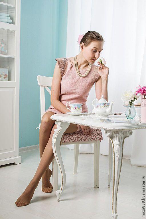 """Платья ручной работы. Ярмарка Мастеров - ручная работа. Купить Платье ручной работы """"Чайная роза"""". Handmade. Бледно-розовый"""