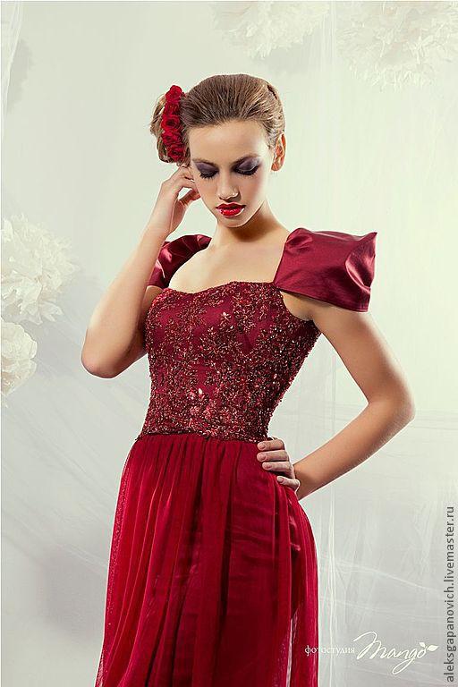 Платья ручной работы. Ярмарка Мастеров - ручная работа. Купить Красное платье.. Handmade. Бордовый, вечернее платье, шёлк натуральный