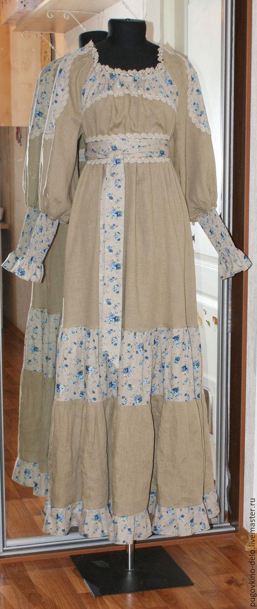 Платья ручной работы. Ярмарка Мастеров - ручная работа. Купить Льняное платье со вставками из хлопка. Handmade. Хаки