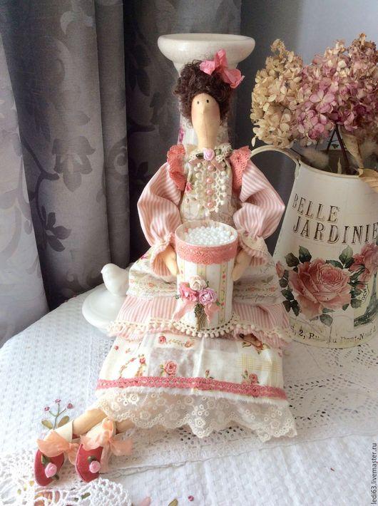 Куклы Тильды ручной работы. Ярмарка Мастеров - ручная работа. Купить Хранительница ватных палочек Пыльная роза в стиле шебби. Handmade.