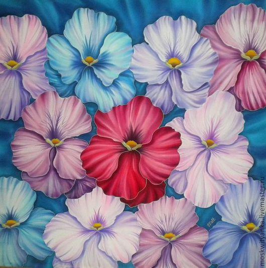 Вариант платка на голубом фоне - весна на пороге!