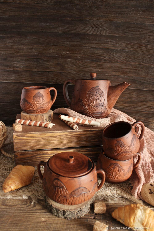 Глиняный набор с орнаментом горы: Чайник, кружки, сахарница, Наборы посуды, Ставрополь,  Фото №1