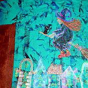 Одежда ручной работы. Ярмарка Мастеров - ручная работа Футболка Кот и его Ведьмочка. Handmade.
