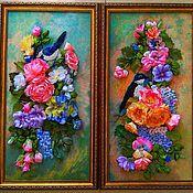 Картины ручной работы. Ярмарка Мастеров - ручная работа Картины:Картина вышивка лентами Дуэт цветочная рапсодия. Handmade.