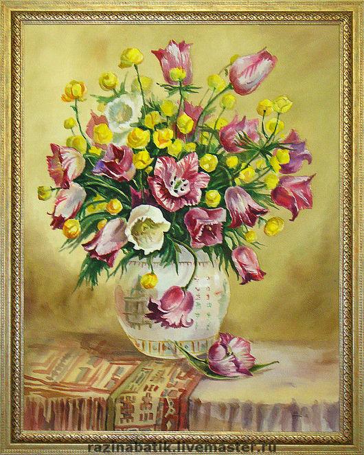 Картины цветов ручной работы. Ярмарка Мастеров - ручная работа. Купить Тюльпаны и кувшинки. Handmade. Цветы, букет, натюрморт, Батик