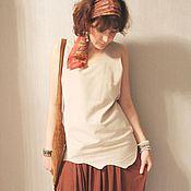Одежда handmade. Livemaster - original item Suede tunic pearl color. Handmade.