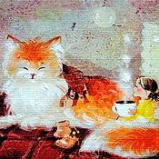 """Картины ручной работы. Ярмарка Мастеров - ручная работа Картина маслом """"Рыжее чаепитие"""".. Handmade."""