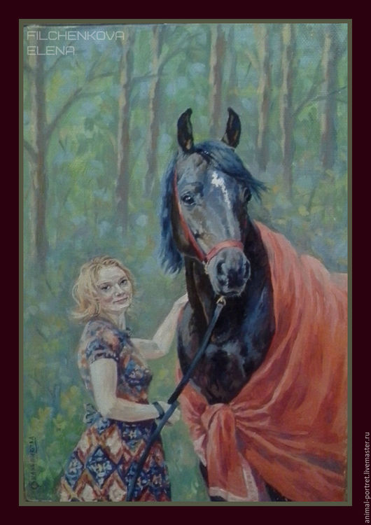 Животные ручной работы. Ярмарка Мастеров - ручная работа. Купить Парный портрет. Handmade. Комбинированный, портрет по фото, конный портрет