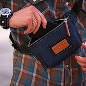 Сумки и аксессуары handmade. Livemaster - original item Deep Blue leather waist bag. Handmade.