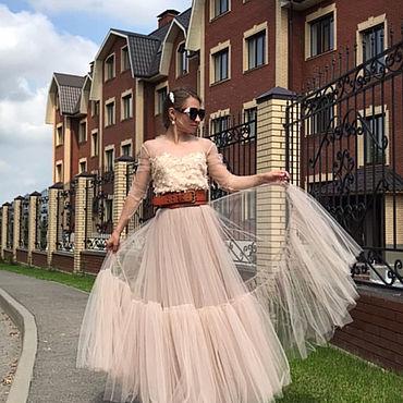 Одежда ручной работы. Ярмарка Мастеров - ручная работа Юбка - пачка из шелкового тюля и шёлка в стиле Диор Dior. Handmade.