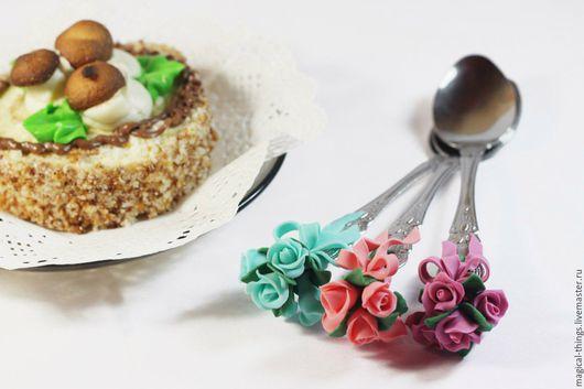 Ложки ручной работы. Ярмарка Мастеров - ручная работа. Купить вкусная ложка с розами с декором. Handmade. Вкусная ложка, розы