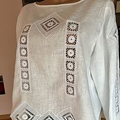 Одежда handmade. Livemaster - original item blouse: White linen blouse