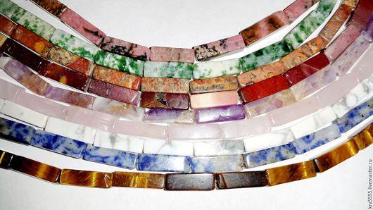 Для украшений ручной работы. Ярмарка Мастеров - ручная работа. Купить Трубочки квадратные, яшма, родонит, аметист, розовый кварц, кахолонг. Handmade.