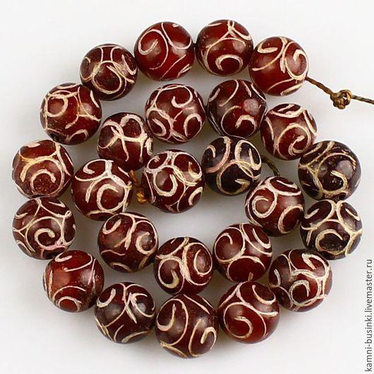 Для украшений ручной работы. Ярмарка Мастеров - ручная работа. Купить Нефрит резной 12 мм бусина шар бордовый. Handmade.