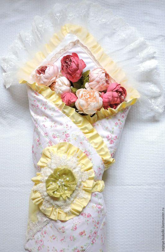 Для новорожденных, ручной работы. Ярмарка Мастеров - ручная работа. Купить Конверт-одеяло с уголком на выписку.. Handmade. Бледно-розовый