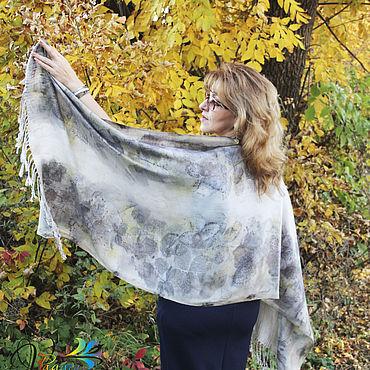 Accessories handmade. Livemaster - original item Stole wool with silk Breath of autumn, EcoPrint. Handmade.