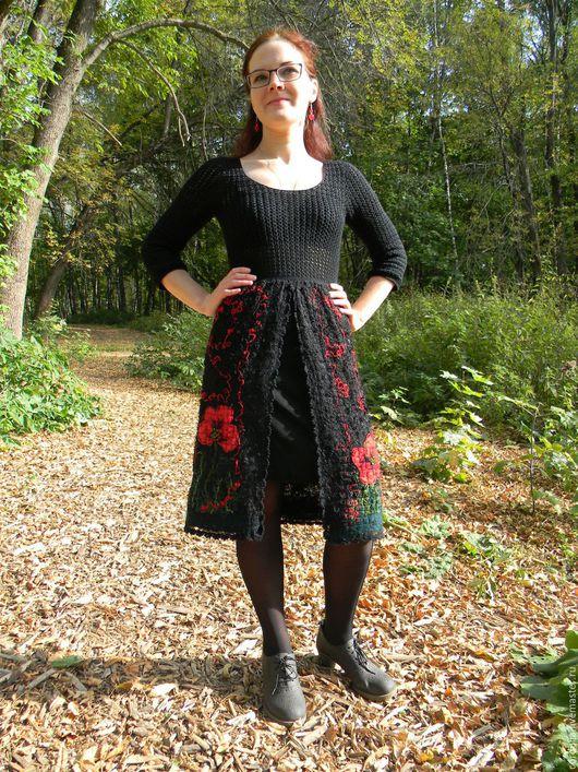 """Платья ручной работы. Ярмарка Мастеров - ручная работа. Купить Платье """"Маки"""". Handmade. Разноцветный, красный, пайетки"""