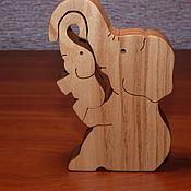 """Мини фигурки и статуэтки ручной работы. Ярмарка Мастеров - ручная работа Мини фигурки и статуэтки: Игрушка """"Слониха со слоненком"""". Handmade."""