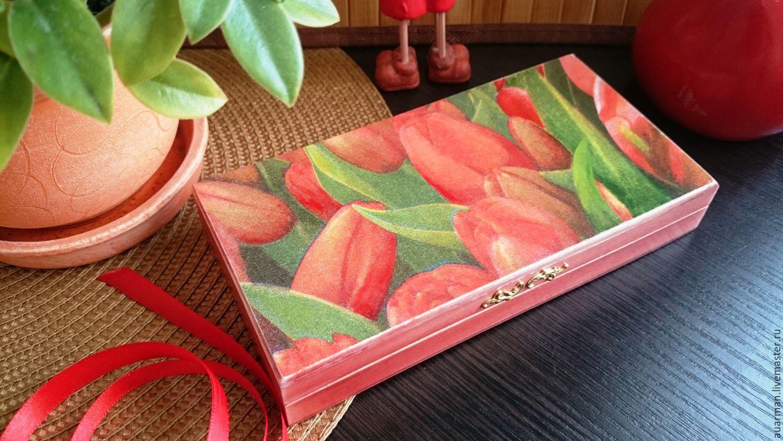 Шкатулка - купюрница декупаж Красные тюльпаны, подарок на 8 марта, Шкатулки, Мытищи,  Фото №1