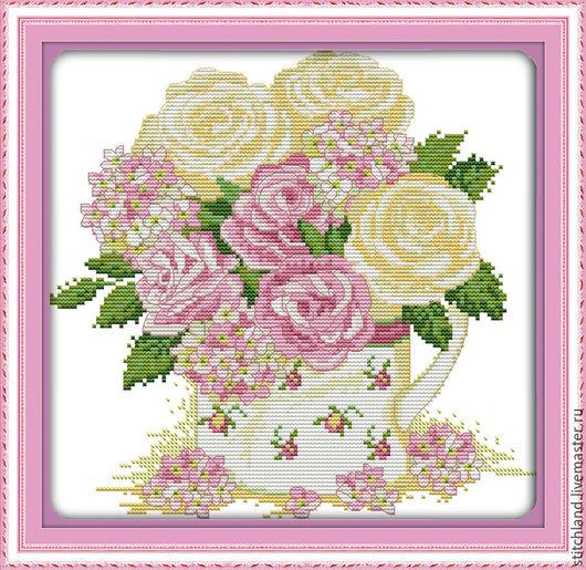 """Вышивка ручной работы. Ярмарка Мастеров - ручная работа. Купить Набор для вышивания """"Элегантные розы"""". Handmade. Пастельные тона, цветы"""