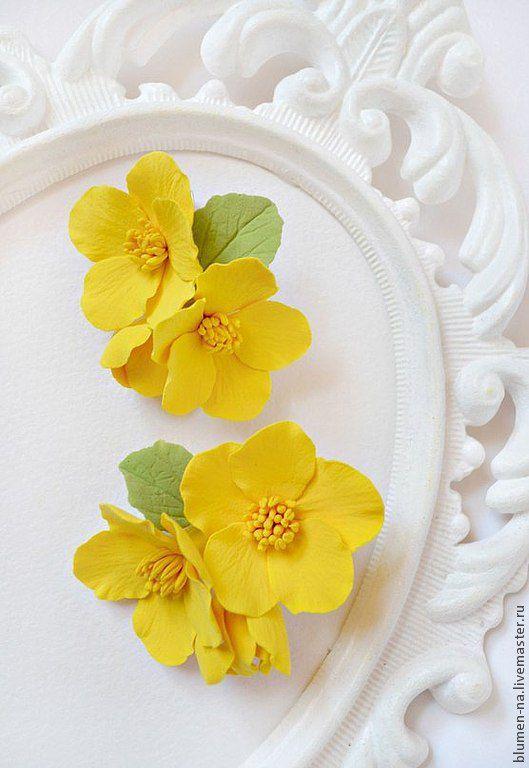 Заколка, заколка для волос, заколка для волос с цветами из полимерной глины, заколка желтый цветок, заколка для девочки, яркая заколка, зажим цветок, Блюмен, Наталья Асатурова, заколки, цветы