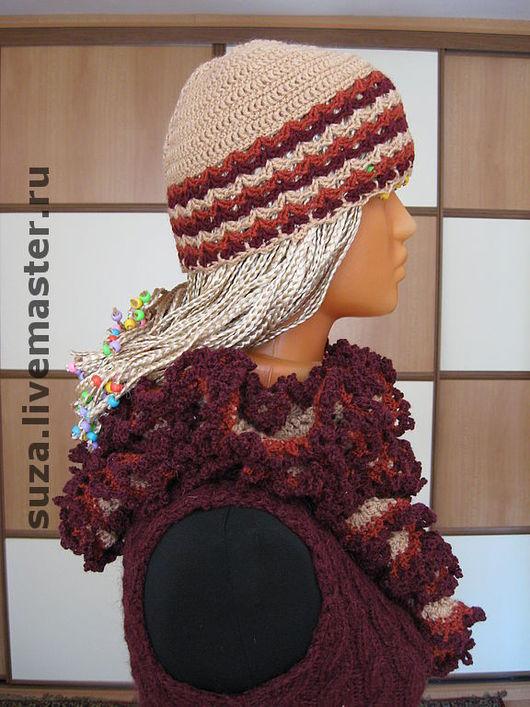Шарфы и шарфики ручной работы. Ярмарка Мастеров - ручная работа. Купить Комплект шапочка и шарф-боа. Handmade. Ажурный шарфик