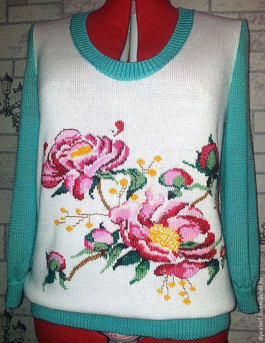 """Кофты и свитера ручной работы. Ярмарка Мастеров - ручная работа. Купить Пуловер """"Пионы"""". Handmade. Белый, пуловер, джемпер"""