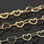 Материалы для творчества handmade. Livemaster - original item Chain in the shape of hearts art. 5-9, gold plated. Handmade.