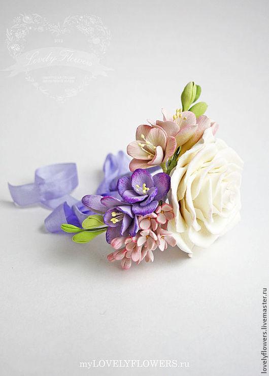 Свадебные украшения ручной работы. Ярмарка Мастеров - ручная работа. Купить Нежный браслет с цветами из полимерной глины. Handmade.