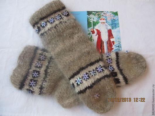 """Носки, Чулки ручной работы. Ярмарка Мастеров - ручная работа. Купить носки 43-44 размер из собачьей шерсти """"Дедушке от Деда Мороза"""" №63. Handmade."""