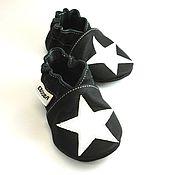 Работы для детей, handmade. Livemaster - original item Baby Shoes with Stars, Baby Boy Shoes,  Black Baby Moccasins. Handmade.