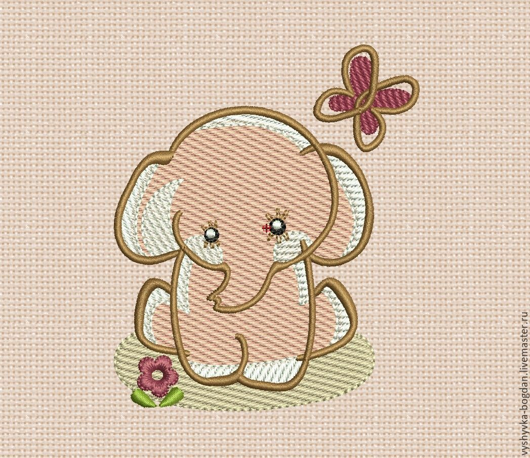 Machine embroidery design. Elephant bt008. The size of the hoop is 10 x 10 cm. Formats: pes dst exp hus vip vp3 jef xxx