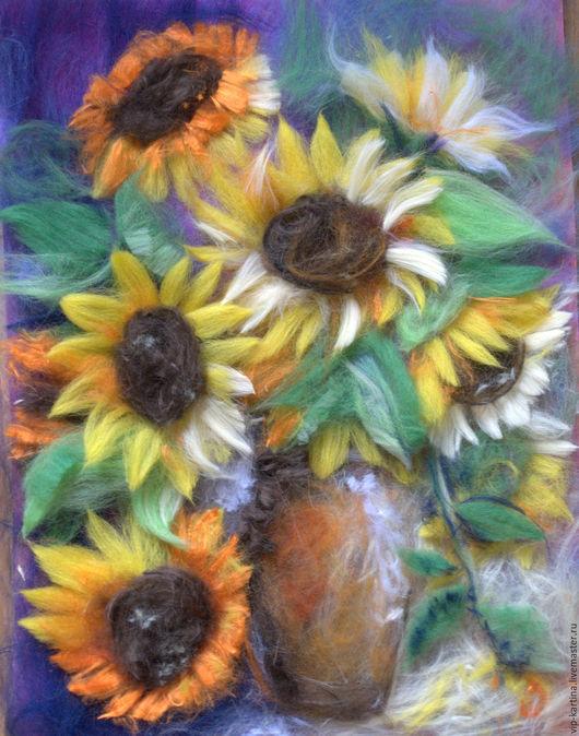 Картины цветов ручной работы. Ярмарка Мастеров - ручная работа. Купить Подсолнухи. Handmade. Комбинированный, шерсть, картина, цветы, натюрморт