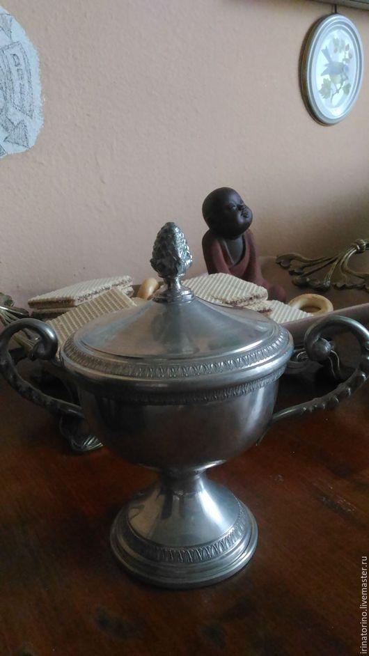 Винтажная посуда. Ярмарка Мастеров - ручная работа. Купить АРХИВ Роскошная сахарница из пищевого олова. Handmade. Сахарница, серебряный