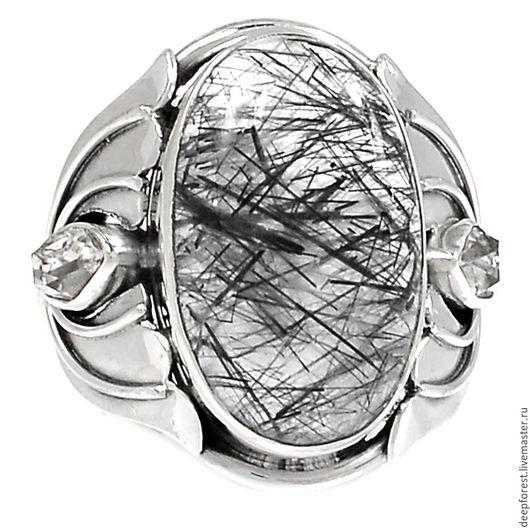 Кольца ручной работы. Ярмарка Мастеров - ручная работа. Купить Кольцо турмалиновый кварц и херкимерский алмаз. Handmade. Чёрно-белый