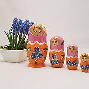 Народная кукла ручной работы. Ярмарка Мастеров - ручная работа Пятиместная  матрешка Оранжевое настроение, оранжевая матрешка. Handmade.