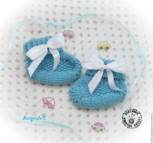 Для новорожденных, ручной работы. Ярмарка Мастеров - ручная работа. Купить Пинетки носочки вязаные для малыша - 3. Handmade.