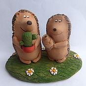 Куклы и игрушки ручной работы. Ярмарка Мастеров - ручная работа Счастье моё колючее. Ежи. Керамика. Handmade.