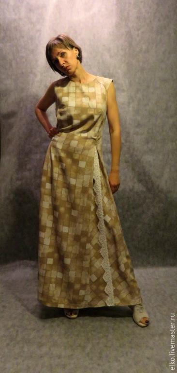 Платья ручной работы. Ярмарка Мастеров - ручная работа. Купить Романтичное платье с кружевной асимметричной вставкой. Handmade. Бежевый, летнее