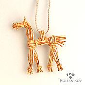 Украшения handmade. Livemaster - original item The suspension is a Straw horse, silver, gilding. Handmade.