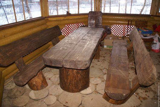Мебель ручной работы. Ярмарка Мастеров - ручная работа. Купить Стол в беседку. Handmade. Коричневый, Стол из массива, стол для дачи