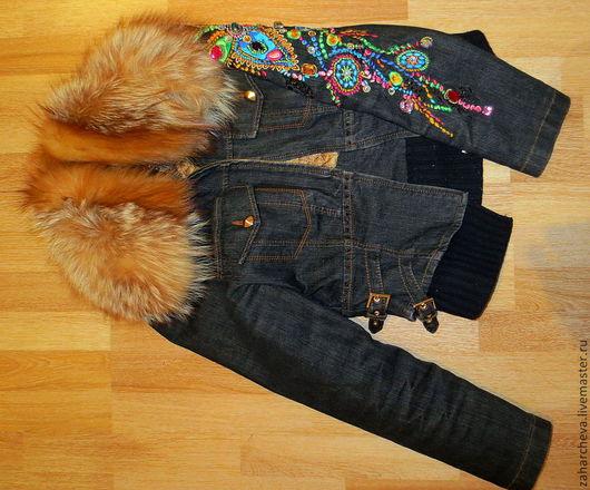 Верхняя одежда ручной работы. Ярмарка Мастеров - ручная работа. Купить джинсовая куртка. Handmade. Дизайн одежды, меховая куртка