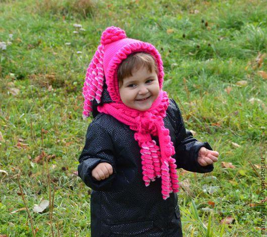 Шапки и шарфы ручной работы. Ярмарка Мастеров - ручная работа. Купить комплект шапочка с шарфиком фуксия. Handmade. Комплект для девочки
