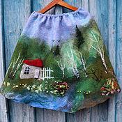 Одежда handmade. Livemaster - original item Felted skirt Birch edge. Handmade.